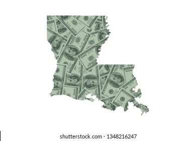Louisiana State Map and Money Concept, Hundred Dollar Bills