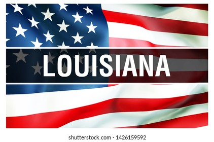 Louisiana state on a USA flag background, 3D rendering. United States of America flag waving in the wind. Proud American Flag Waving, US Louisiana state concept. US symbol and American Louisiana
