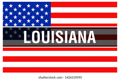 Louisiana state on a USA flag background, 3D rendering. United States of America flag waving in the wind. Proud American Flag Waving, US Louisiana state . US symbol and American Louisiana background