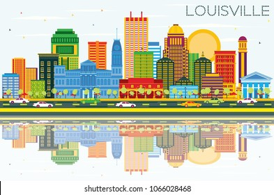 Louisville Kentucky USA City Skyline with Color Buildings, Blue Sky and Reflections. Business Travel and Tourism Concept with Modern Architecture. Louisville Cityscape with Landmarks.