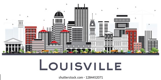 Louisville Kentucky USA City Skyline with Gray Buildings Isolated on White. Business Travel and Tourism Concept with Modern Architecture. Louisville Cityscape with Landmarks.