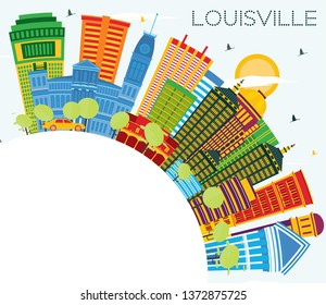 Louisville Kentucky USA City Skyline with Color Buildings, Blue Sky and Copy Space. Business Travel and Tourism Concept with Modern Architecture. Louisville Cityscape with Landmarks.