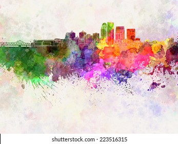 Louisville skyline in watercolor background