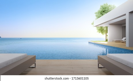 Lounge chair on terrace near swimming pool and garden in modern beach house or luxury villa. Building exterior 3d rendering with sea view.