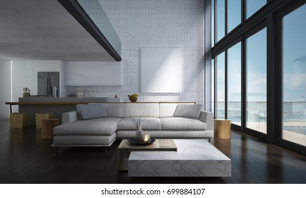 The lounge and double space living room and kitchen interior design and concrete wall background / New 3D rendering interior design scene