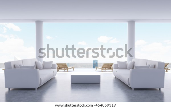 Lounge Interior Small Coffee Table Two Stock Illustration 454059319