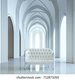 Lounge leather furniture in classic gothic architecture interior 3d render