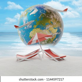 lounge and umbrella on sand beach island with world globe 3d-illustration. elements of this iamge furnished by NASA