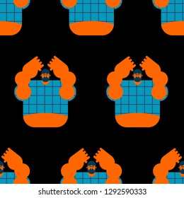lout seamless pattern. Angry bearded man in shirt background. Aggressive guy ornament