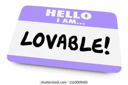 Lovable Adorable Worthy Affection Name Tag 3d Illustration