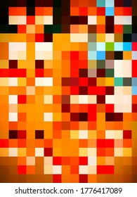 A lovable geometric illustration of colorful pattern of tiles or squares and rectangles with notional  surface texture.