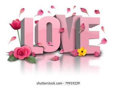 love is in 3d letters with flower on a white, isolated background. Rose petals are falling and there is a tulip.