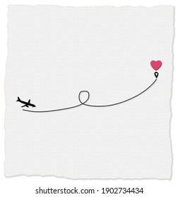 Love airplane route to destination point pink heart. Romantic travel, heart, plane route, path. Valentines card, love concept, isolated on white background. Copy space, place for text. 3D illustration