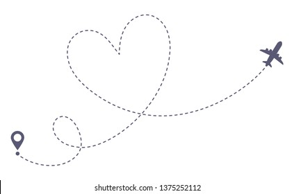 Love airplane route. Romantic travel, heart dashed line trace and plane routes. Hearted airplane path, flight air dotted love valentine day drawing isolated  illustration