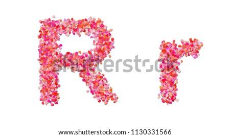 love alphabet letter r made hearts stock illustration 1130331566