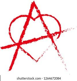 Love anarchy symbol. Grunge style.