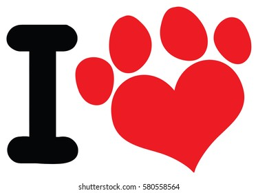 I Love Animals With Red Heart Paw Print Logo Design. Raster Illustration Isolated On White Background