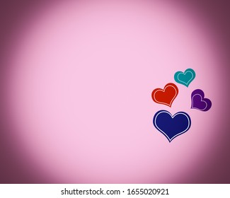 Love background with colorful hearts and text copy space, graphic design illustration wallpaper, lovely greeting card on abstract backdrop