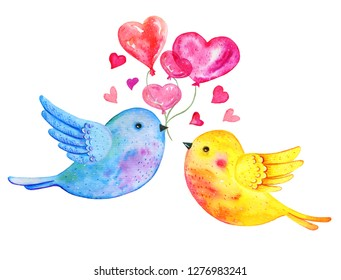 Love birds couple flying with heart balloons. Hand drawn watercolor illustration for St Valentine's day isolated on white background