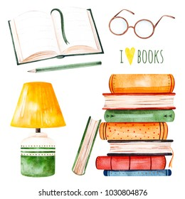 I love books watercolor set.Illustration with a huge pile of books,lamp,open book,pencil and glasses. Perfect for your own design,invitations,quotes,print,wallpapers,scrapbook etc