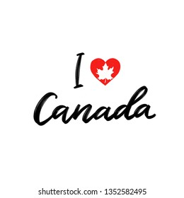 I love Canada handwriting calligraphy isolated on white background.