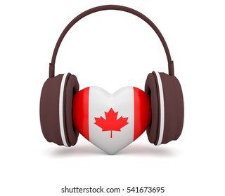 Love Canadian Music, Canada Flag 3d Heart With Headphones, 3d illustration on white background