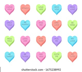 Love candy hearts. Valentines day treats, sweet heart candies and romantic love traditional sweets. Holiday lovely heart shaped sweetmeats  isolated illustration set. Romance stickers pack