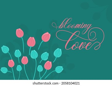 Love card design with blooming flowers