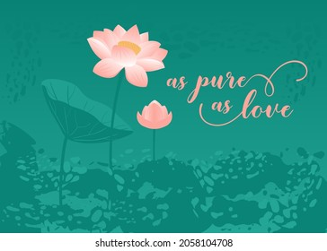 Love card design with blooming lotus in lake