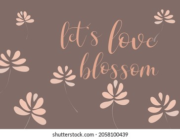 Love card design with floating flowers on purple rose solid background