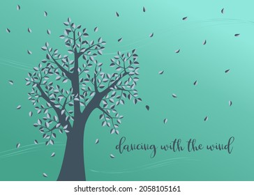 Love card design with leaves dancing in the wind