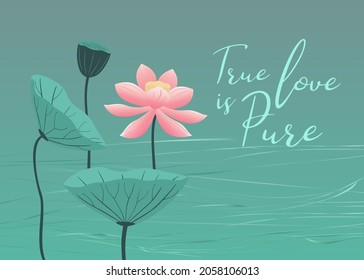 Love card design with lotus flower, leaves and seeds