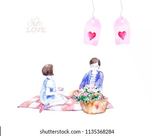 Love card - Girl and boy sitting near each other. Colorful abstract texture. Watercolor postcard with love around boy and girl.