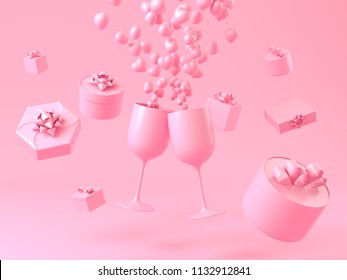 Love cerebration with champagne. Pink gift boxs and champagne glass with small pink hearts like splash of champagne on white background. 3d illustration rendering.