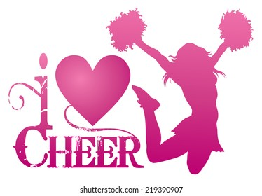 I Love Cheer With Jumping Cheerleader is an illustration of a cheer design for cheerleaders. Express your love for cheerleading. Includes a jumping cheerleader and a heart shape.Print