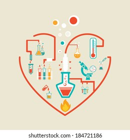 love chemistry infographics scheme illustration with flasks, test tubes and beakers
