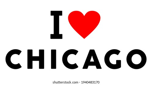 I love Chicago city like heart travel tourism symbol