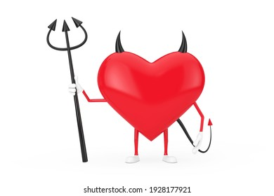 Love Concept. Evil Devil Heart Cartoon Mackot Character Person with Pitchfork, Horns and Tail on a white background. 3d Rendering