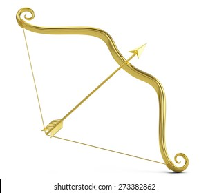 Love concept: Golden Cupid's bow and arrow isolated on white