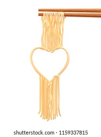 Love Concept of Instant noodle Chopped with chopsticks in Heart shape, 3d illustration.