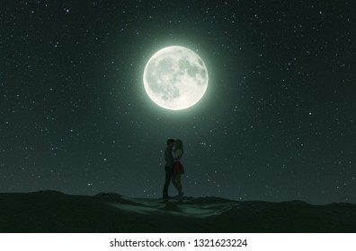 Love couples under the moonlight,3d rendering