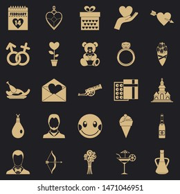 Love day icons set. Simple set of 25 love day icons for web for any design