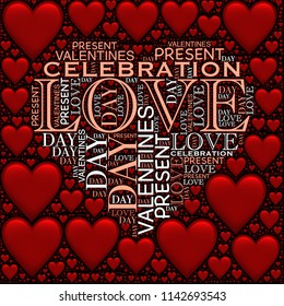 Love, Valentine's Day, Present, Celebration words create hearts silhouette with red hearts pattern image
