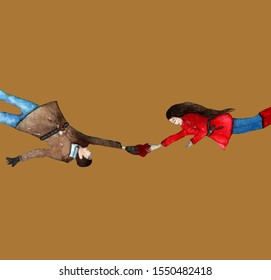 Love in a distance,the couple flies and stretcher towards each other isolated on brown background.Love story postcard,poster,card,illustration.
