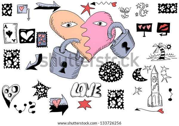 love doodles, hand drawn design elements