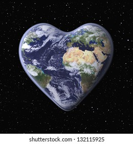 Love the Earth!/ Three-dimensional Globe in the Shape of a Heart; Globe mapping image provided by NASA