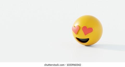 Love emoticon 3D Rendering Hintergrund, Social Media und Kommunikation Konzept