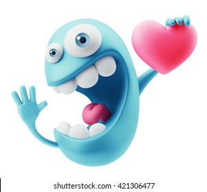 Love Emoticon Face Holding Heart. 3d Rendering.