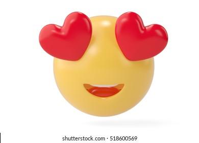 In love emoticon.3D illustration.