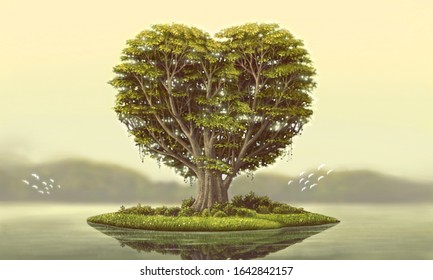 Love, environment, and freedom concept, surreal heart tree on little island, painting, imagination